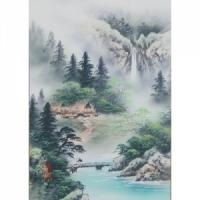 산수화족자(강가의다리)