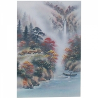 산수화족자(강가의나룻배)