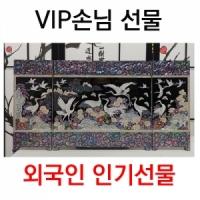 채화십장생3폭자개병풍(검정)